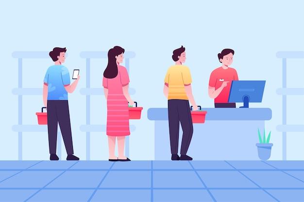 Les gens restent dans une file d'attente au supermarché tout en se distanciant social