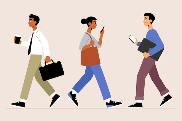 Les gens retournent au travail illustration