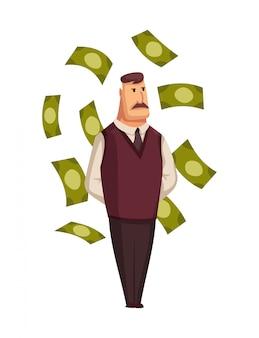 Gens riches de dessin animé de vecteur. heureux homme d'affaires prospère super riche avec d'énormes tas de factures d'argent vert. homme très riche se baignant dans son argent, magnat millionnaire heureux mâle