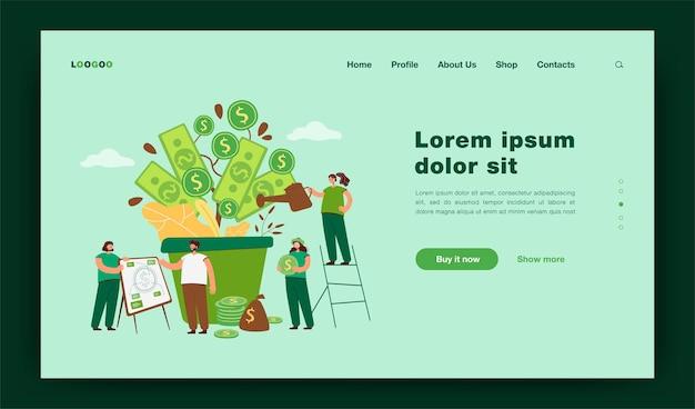 Des gens riches et heureux qui cultivent une usine financière, arrosent l'arbre d'argent en tas d'argent, analysent la richesse et la prospérité. illustration