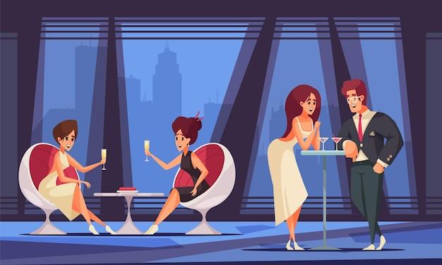 Des gens riches à plat avec des hommes et des femmes riches buvant du vin à l'illustration de la fête vip