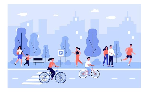 Gens sur la rue de la ville