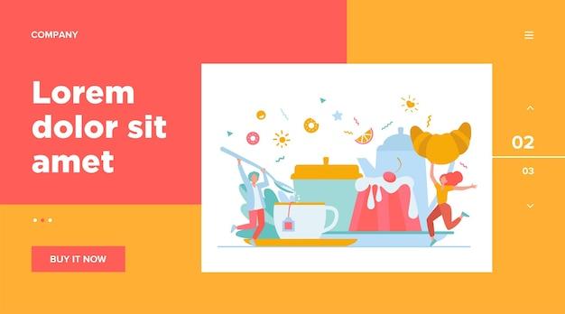 Les gens s'amusent au thé. dessin animé hommes et femme bénéficiant d'une boisson chaude, biscuits, croissant, dessert. illustration vectorielle pour la pause-café, boulangerie, sucre, concept de menu