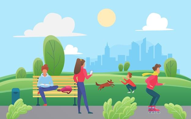 Les gens s'amusent dans le parc urbain vert de la ville garçon patinage à roulettes jouant chien fille marchant