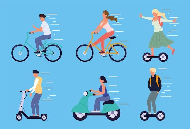 Les gens s'amusent avec un scooter électrique