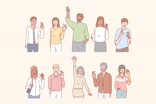 Les gens saluent ou disent bonjour avec la main