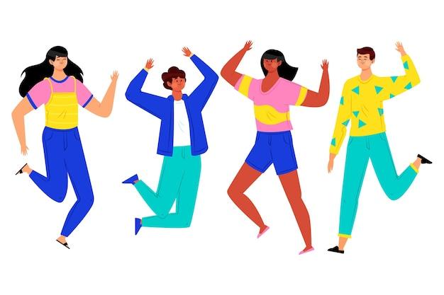 Les gens sautent tout en célébrant la journée de la jeunesse