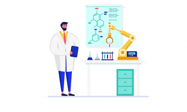 Gens de scientifique dans l'illustration de laboratoire d'innovation, personnage de médecin de dessin animé faisant l'expérience à l'aide de robot sur blanc