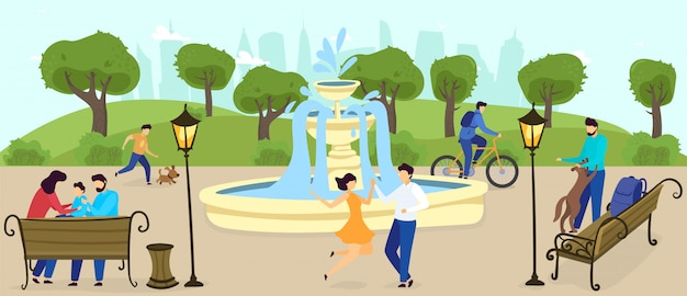 Les gens se détendent dans le parc de la ville en plein air en appréciant la fontaine, les arbres, la nature, une famille heureuse avec des enfants, l'illustration de la relaxation.