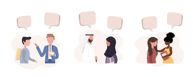 Les gens se parlent. les hommes d'affaires discutent du réseau social. les amis discutent avec des bulles de dialogue. illustration moderne dans le style.