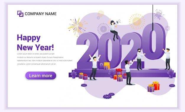 Les gens se préparent pour la bannière du nouvel an 2020