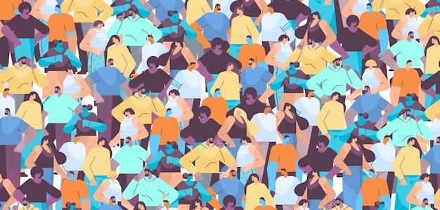 Les gens se pressent hommes femmes debout ensemble des personnages de dessins animés portraits seamless pattern illustration vectorielle horizontale