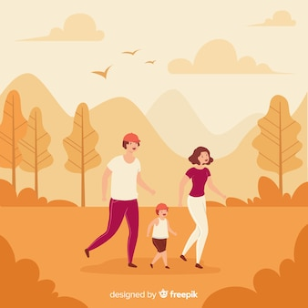 Les gens se promener en automne