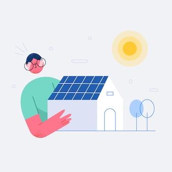 Les gens se sentent heureux avec le concept d'énergie solaire de maison écologique