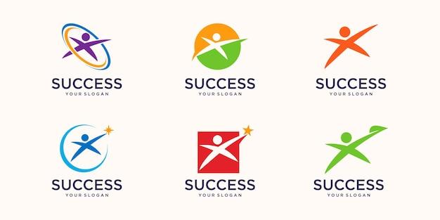 Les gens se soucient du succès des icônes de modèle de logo de vie de santé les gens de la communauté se soucient du logo et des symboles du modèle de soins familiaux