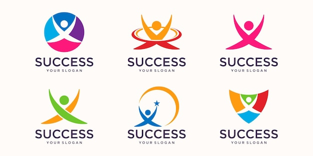Les gens se soucient des icônes de modèle de logo de vie de santé succès