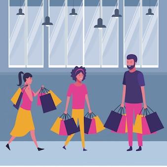 Gens shopping dessin animé