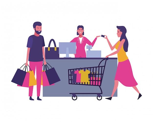 Gens shopping dessins animés