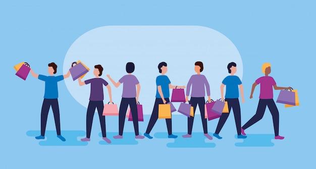 Les gens shopping avec des sacs