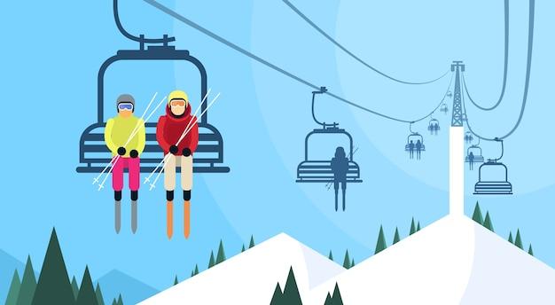Gens, skieur, câble, transport, corde, manière