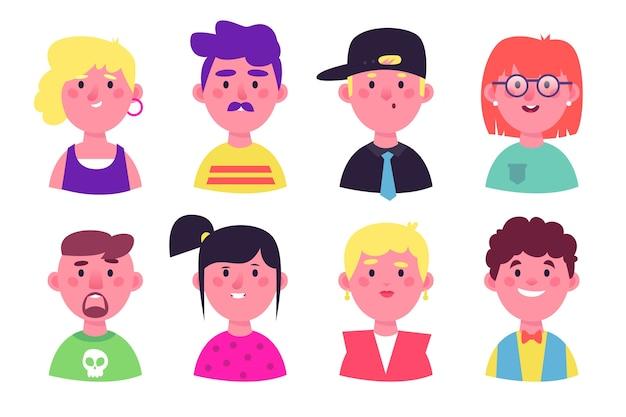 Les gens smiley avatars diverses personnalités