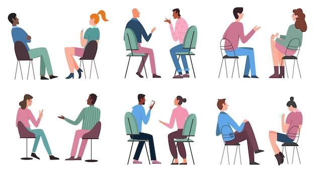 Les gens sont assis sur un ensemble d & # 39; illustrations de chaises
