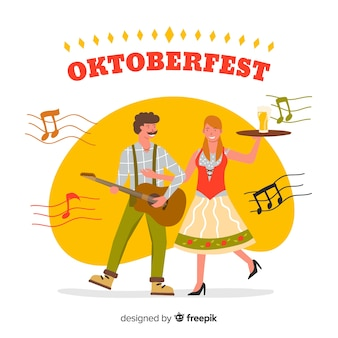 Gens de style dessin animé célébrant l'oktoberfest