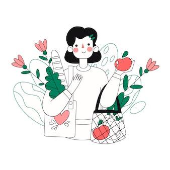 Gens de style de vie vert dessinés à la main