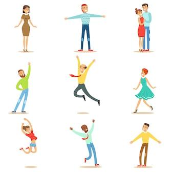Les gens submergés de bonheur et de joie extatique collection de personnages de dessins animés souriants heureux