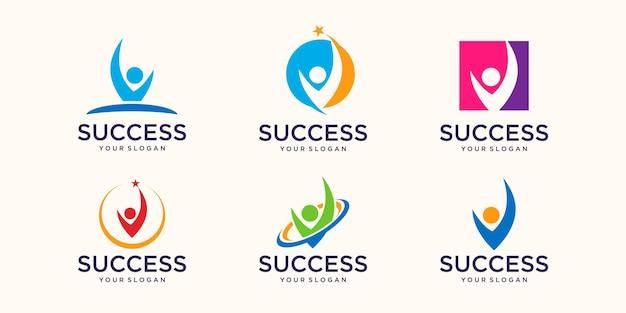 Les gens de succès fonctionne modèle de conception de logo de vecteur de logo