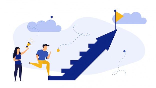 Les gens de succès intensifient le concept d'illustration commerciale de l'équipe de promotion de la flèche.