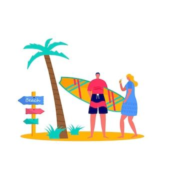 Les gens surfent en maillot de bain avec des planches de surf. jeunes femmes et hommes profitant de vacances sur la mer, l'océan. concept de sports d'été et d'activités de plein air de loisirs isolés sur fond blanc. vecteur plat
