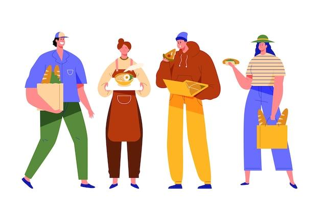 Gens, tenue, nourriture, debout