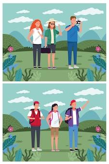 Gens de touristes debout sur la conception d'illustration vectorielle de caractère paysage