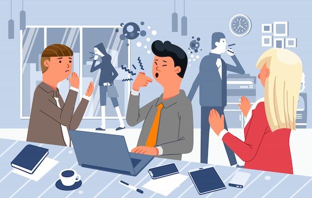 Les gens toussent au bureau ne portant pas de masque, le virus se propage dans l'illustration de bureau