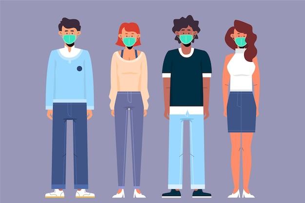 Des gens de toutes nationalités portant des masques