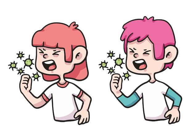 Les gens de la toux virus coronavirus illustration