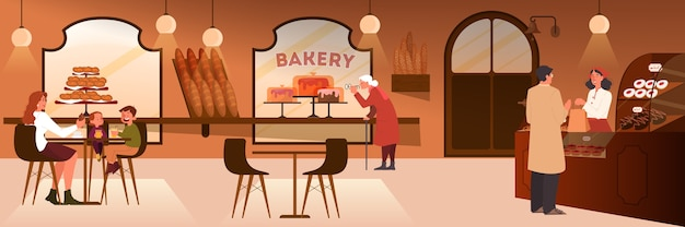 Les gens en train de déjeuner dans une boulangerie. la famille passe du temps ensemble, l'intérieur de la cafétéria. illustration