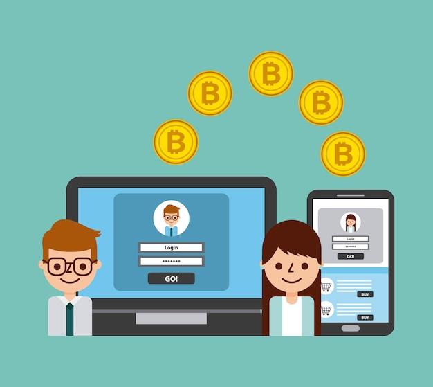 Les gens transfèrent des services bancaires numériques en ligne bitcoin en toute sécurité