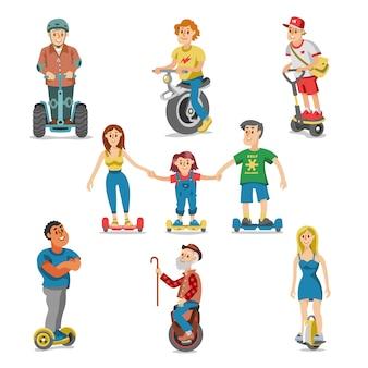 Les gens sur le transport électrique hoverboard segway définir des personnages conduisant sur gyroscooter et l'homme en équilibre sur monowheel électrique ou eco balanceboard illustration isolé sur fond blanc