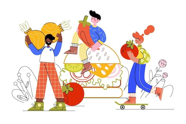 Les gens transportant leur nourriture du marché