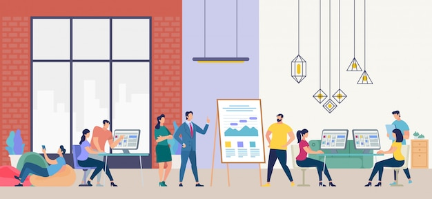 Les gens travaillent au bureau. illustration vectorielle