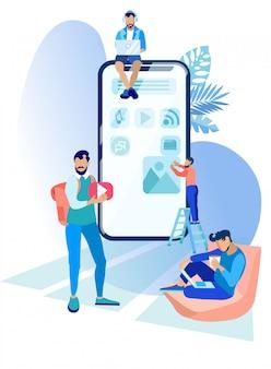 Les gens travaillent sur la création d'applications mobiles.