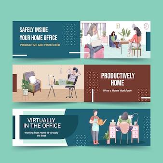 Les gens travaillent à domicile avec des ordinateurs portables, un pc à table, un canapé. illustration aquarelle de concept de bannière de bureau à domicile