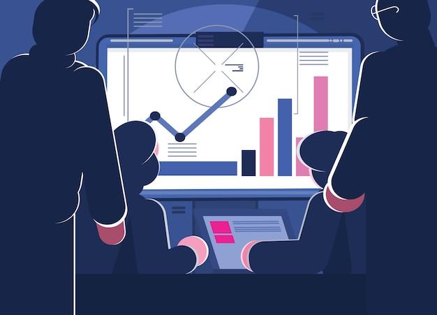 Les gens travaillent en équipe et interagissent avec des graphiques