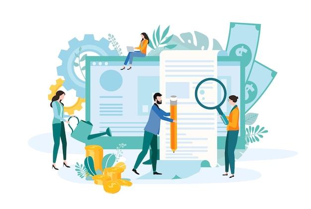 Les gens travaillent à mettre en œuvre des projets d'entreprise, à analyser et à augmenter l'efficacité et les revenus