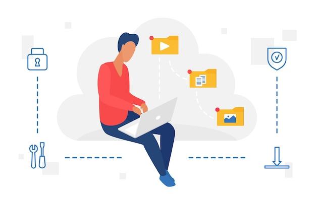 Les gens travaillent avec un utilisateur de service de stockage web en nuage utilisant un ordinateur portable pour télécharger des fichiers