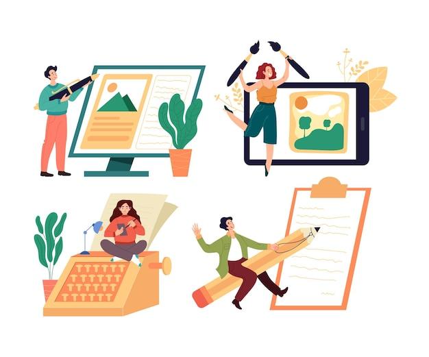 Gens travailleurs personnages journaliste rédacteur concepteur de contenu blogger profession isolé ensemble.