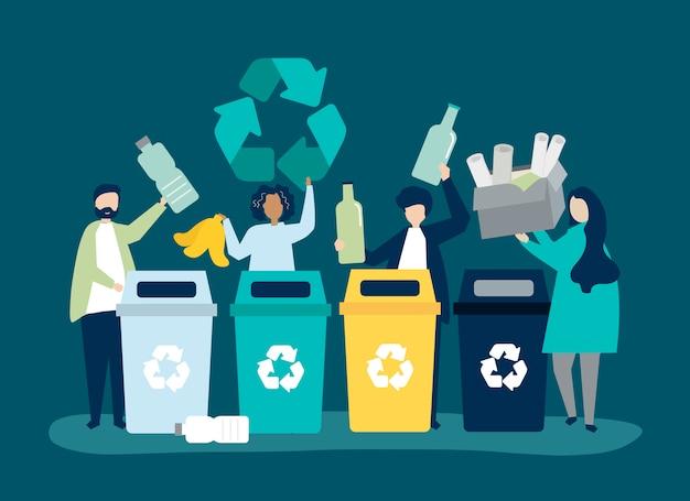 Les gens trient les ordures pour les recycler