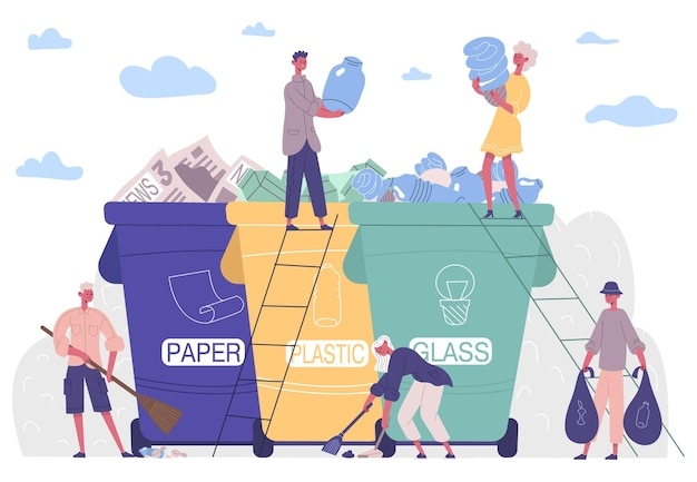 Les gens trient les ordures, protégeant l'environnement de la solution plastique. collecte, tri, recyclage des ordures activistes vector illustration. les personnages gardent l'environnement propre, ramassant les déchets